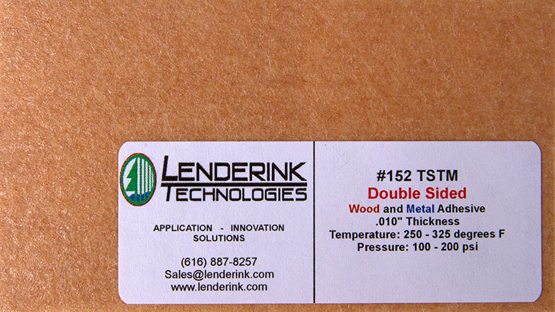 Double sided wood and metal adhesive Lenderink Technologies