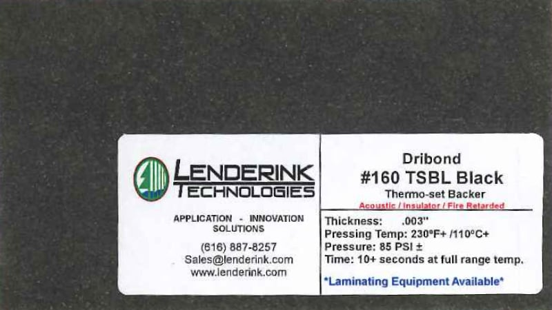 Thermoset Black Backing Material Lenderink Technologies