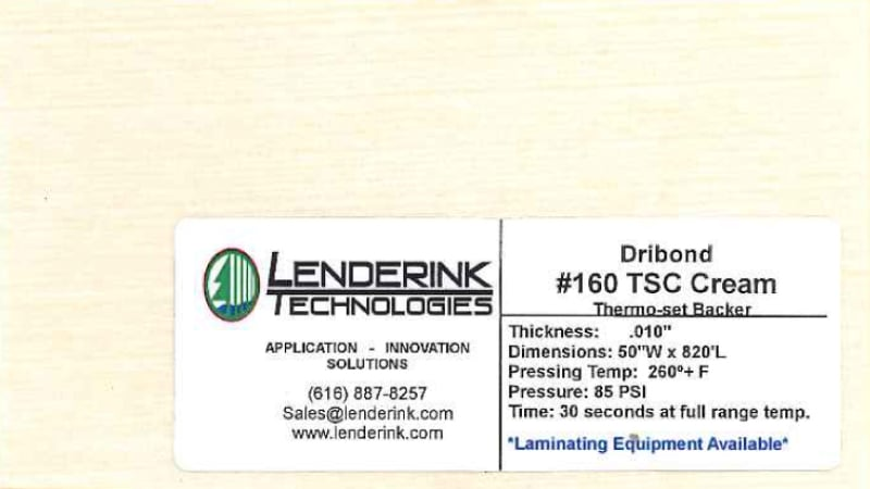 Thermo-Set Cream Backer Lenderink Technologies