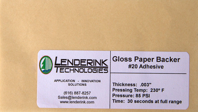 Gloss Paper Backer with Adhesive Lenderink Technologies