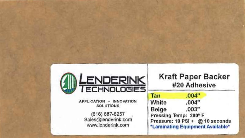 Kraft paper backer Lenderink Technologies