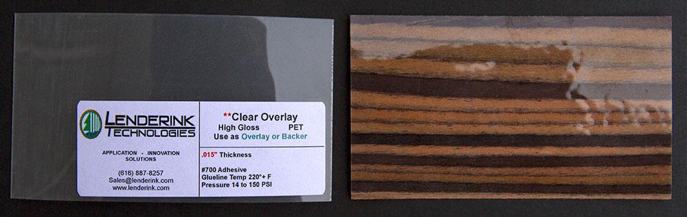 Clear Overlay PET High Gloss Overlay or Backer