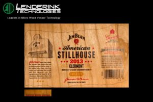 Wood Veneer Printed Whiskey Bottle Labels - Jim Beam
