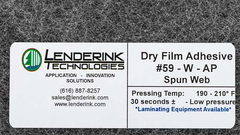#59W Dry Film Adhesive    1.8¢/sq.ft. Thickness: .015″     Pressing Temperature: 200•F      Pressure: Low Pressure